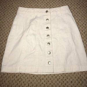 forever 21 white mini jean skirt